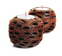 Hand turned Banksia Seed Balls tealight candle